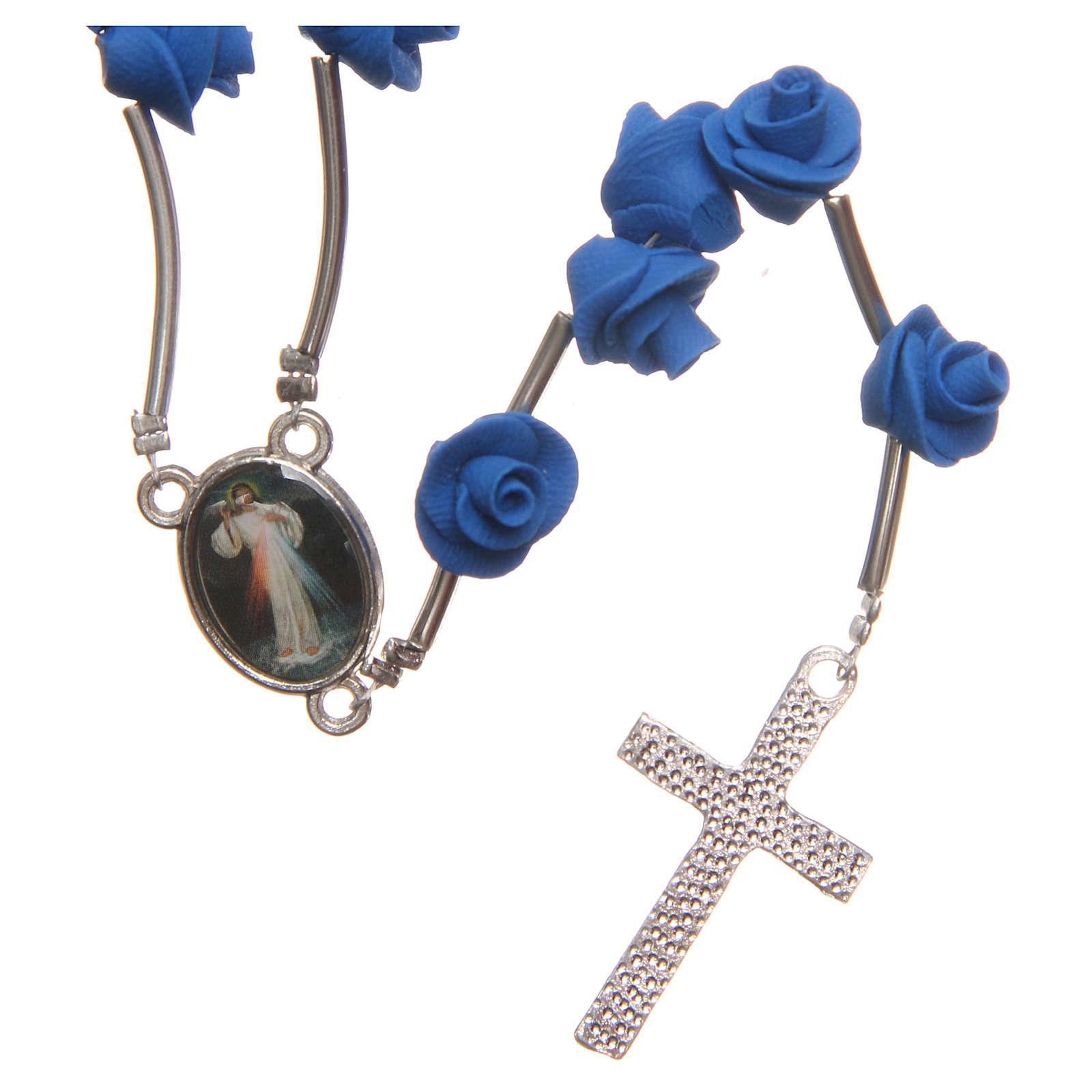 Rosario Medjugorje rose blu croce strass 4
