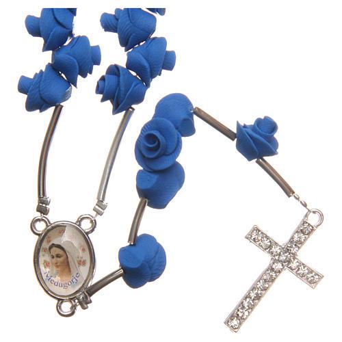 Rosario Medjugorje rose blu croce strass 1