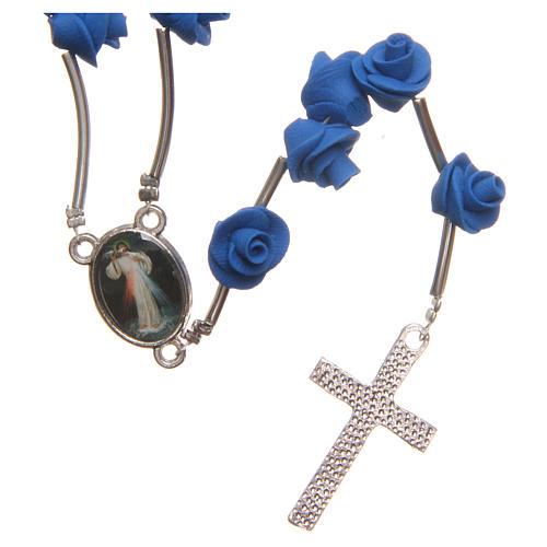 Rosario Medjugorje rose blu croce strass 2