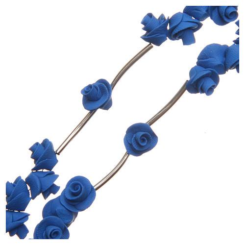 Rosario Medjugorje rose blu croce strass 3