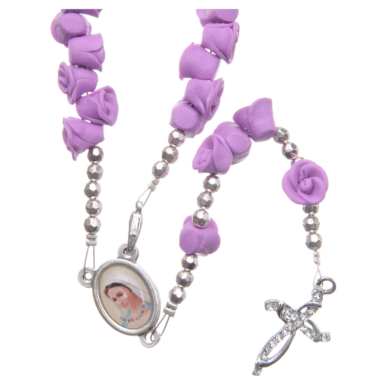 Medjugorje rosary beads with lilac roses with cross in rhinestones 4