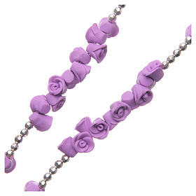 Medjugorje rosary beads with lilac roses with cross in rhinestones s3