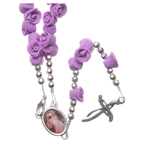 Medjugorje rosary beads with lilac roses with cross in rhinestones 2