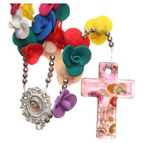Chapelets et boîte chapelets: Chapelet Medjugorje roses multicolores croix verre Murano