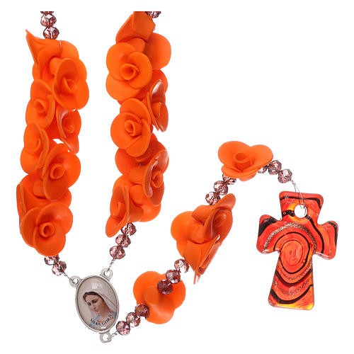 Medjugorje rosary beads with orange roses with cross in Murano glass 1