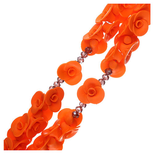 Medjugorje rosary beads with orange roses with cross in Murano glass 3
