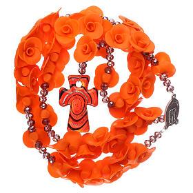 Rosario Medjugorje rosas naranjas cruz vidrio Murano s4
