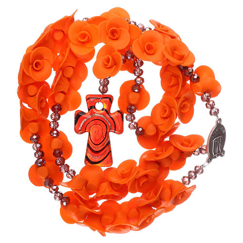 Chapelet Medjugorje roses oranges croix verre Murano 4