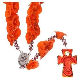 Rosario Medjugorje rose arancioni croce vetro Murano s2