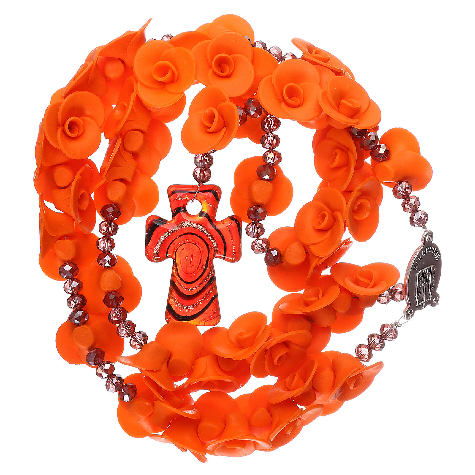 Medjugorje rosary beads with orange roses with cross in Murano glass 4