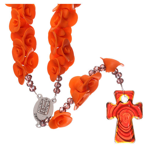 Medjugorje rosary beads with orange roses with cross in Murano glass 2