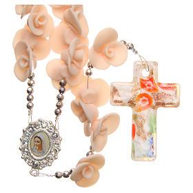 Chapelets et boîte chapelets: Chapelet Medjugorje roses pêche croix verre Murano