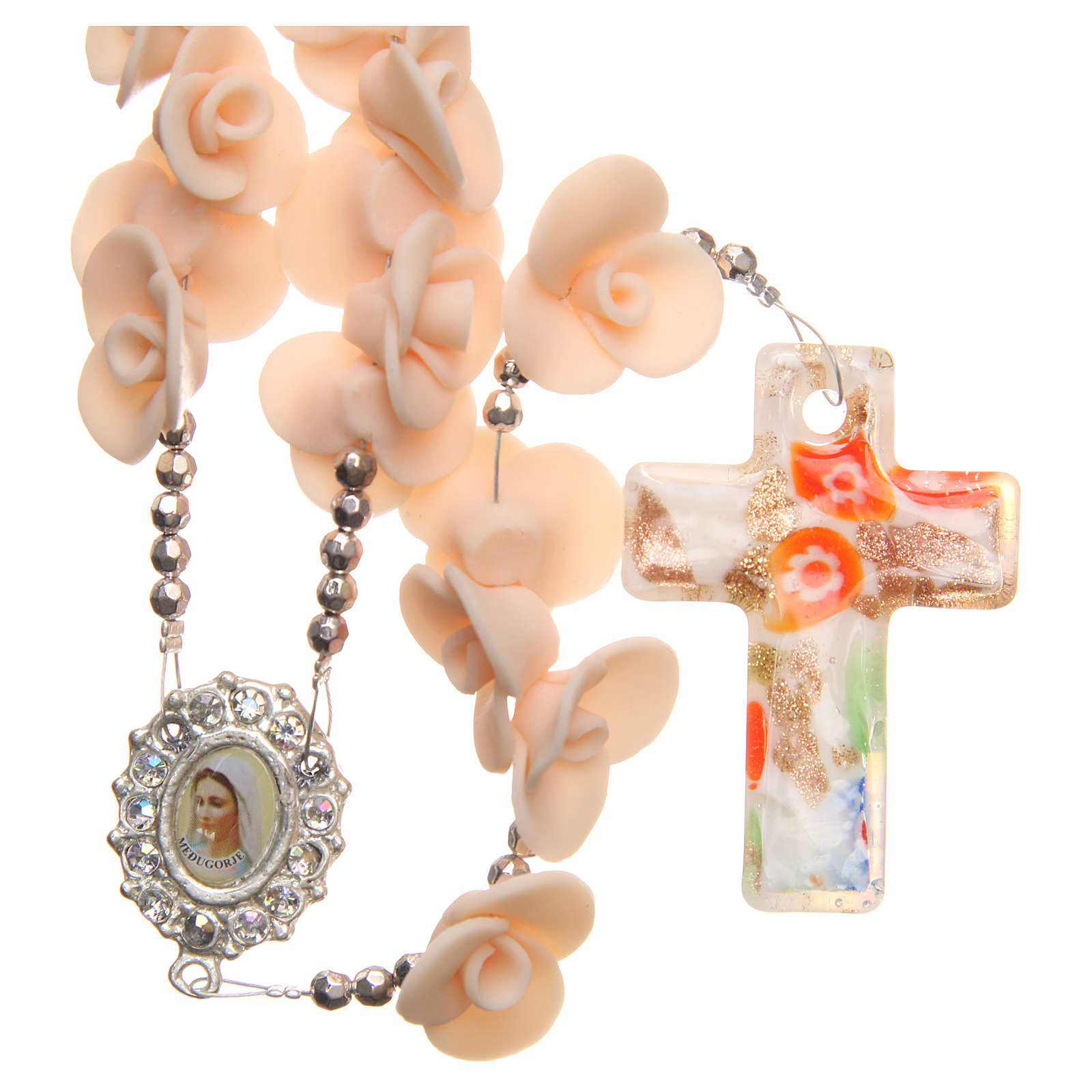 Medjugorje rosary beads with peach roses with cross in Murano glass 4