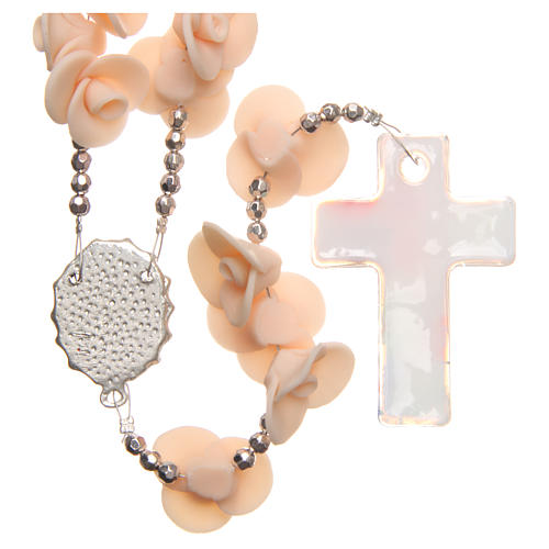 Medjugorje rosary beads with peach roses with cross in Murano glass 2