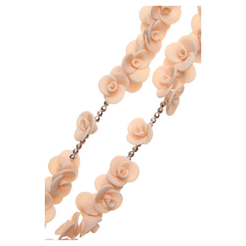Medjugorje rosary beads with peach roses with cross in Murano glass 3