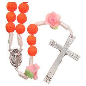 Terço Medjugorje rosas laranja fluorescente s2