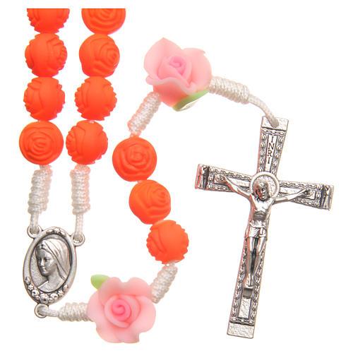 Terço Medjugorje rosas laranja fluorescente 1