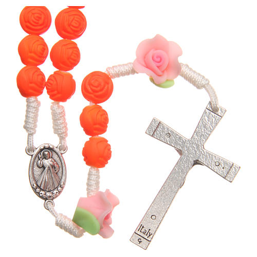 Terço Medjugorje rosas laranja fluorescente 2