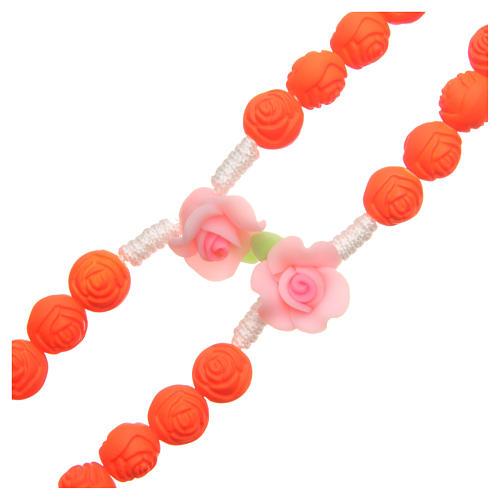 Terço Medjugorje rosas laranja fluorescente 3
