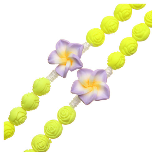 Medjugorje rosary beads with neon yellow roses 3