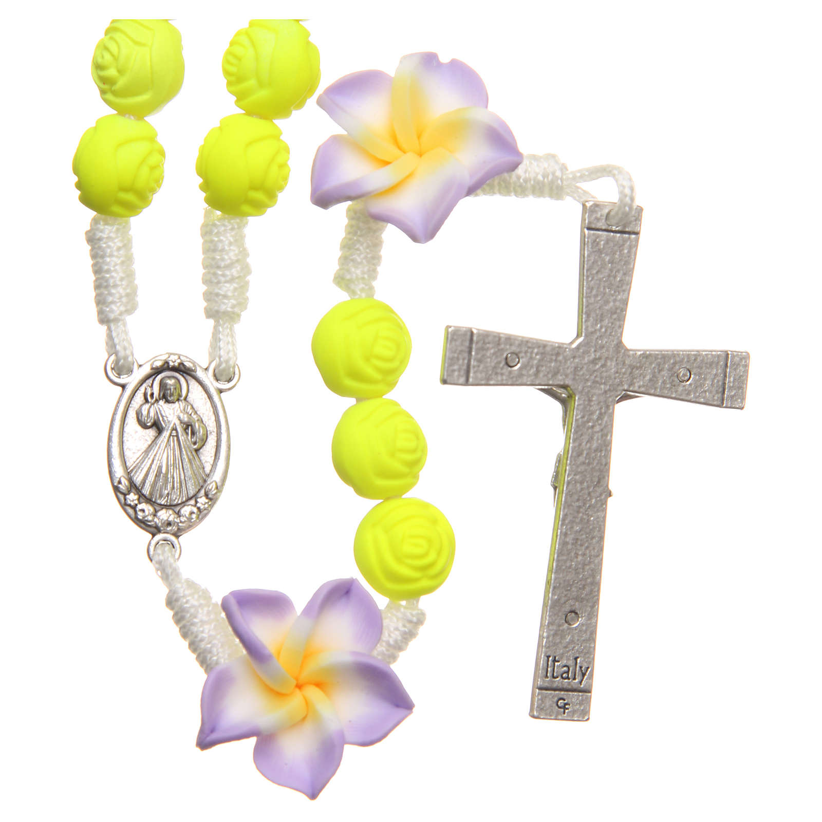 Medjugorje rosary beads with neon yellow roses 4