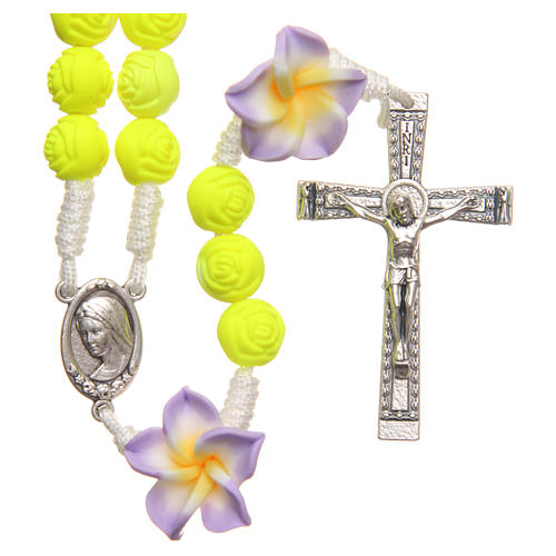 Medjugorje rosary beads with neon yellow roses 1