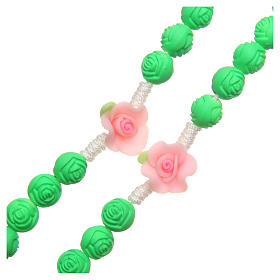 Medjugorje rosary beads with green roses s3
