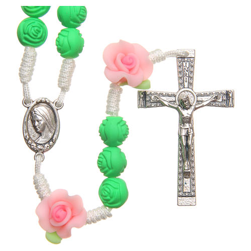 Medjugorje rosary beads with green roses 1