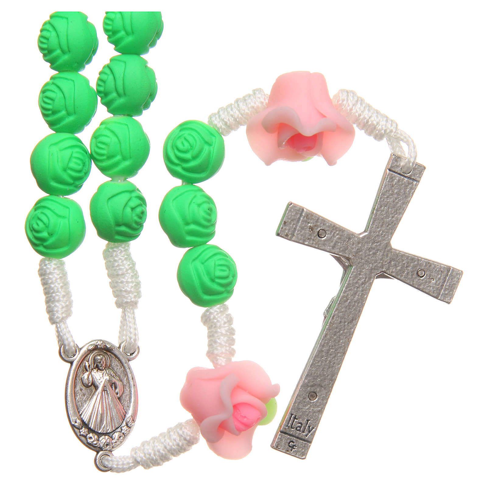 Medjugorje rosary beads with green roses 4