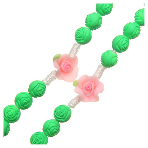 Medjugorje rosary beads with green roses 3
