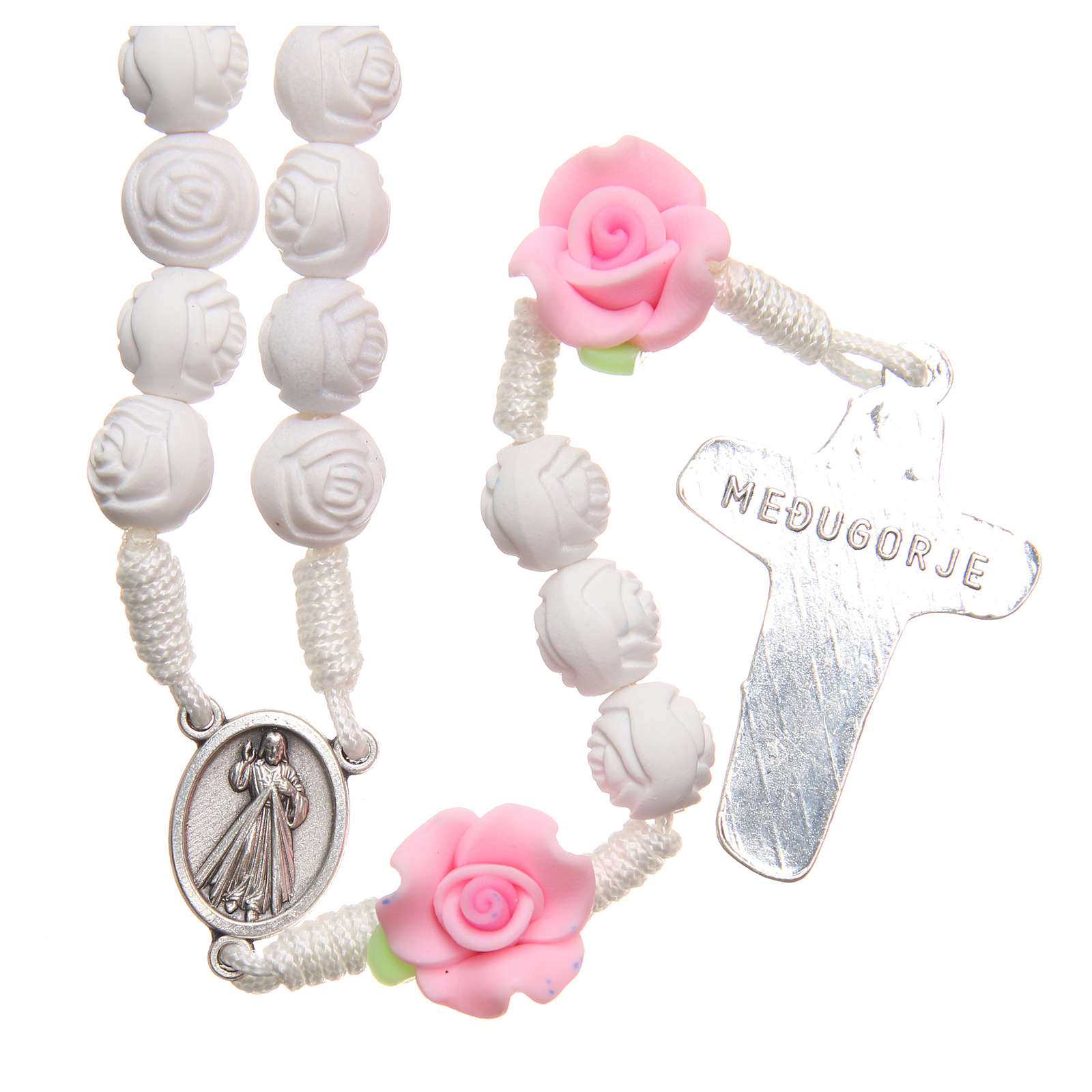 Medjugorje rosary beads with white roses 4