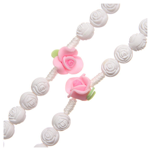Medjugorje rosary beads with white roses 3