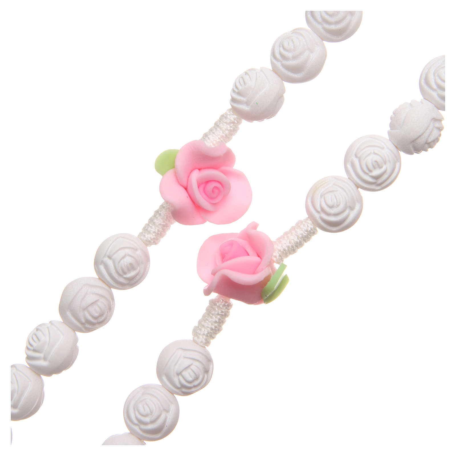 Chapelet Medjugorje petites roses blanches 4