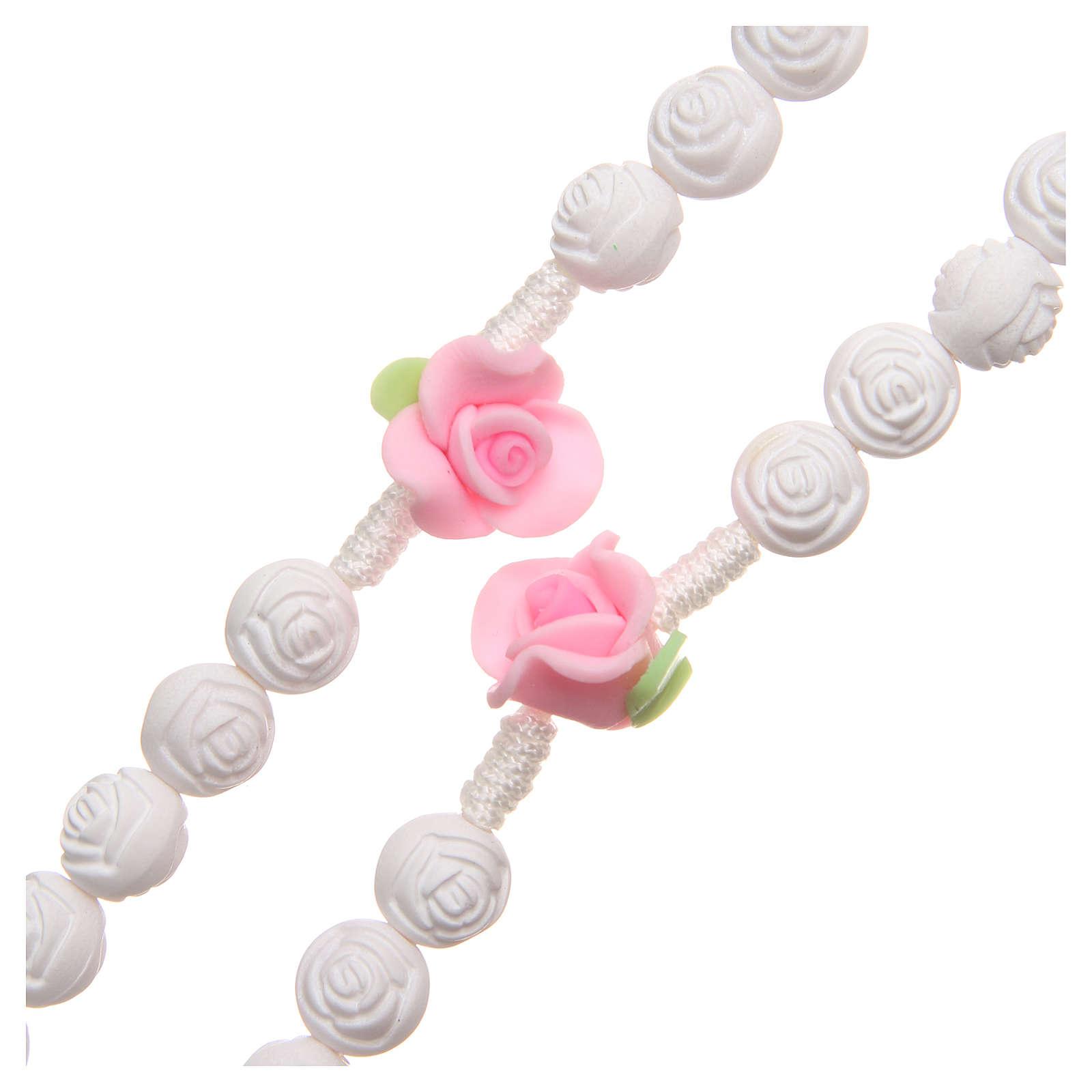 Terço Medjugorje rosas branco fluorescente 4