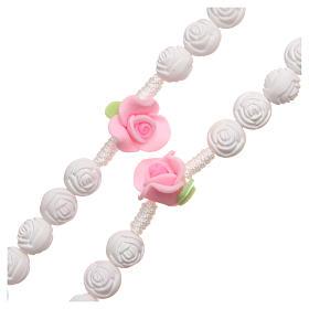 Terço Medjugorje rosas branco fluorescente s3