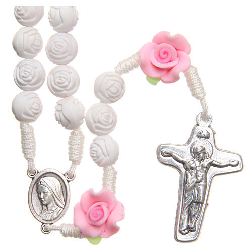 Medjugorje rosary beads with white roses 1