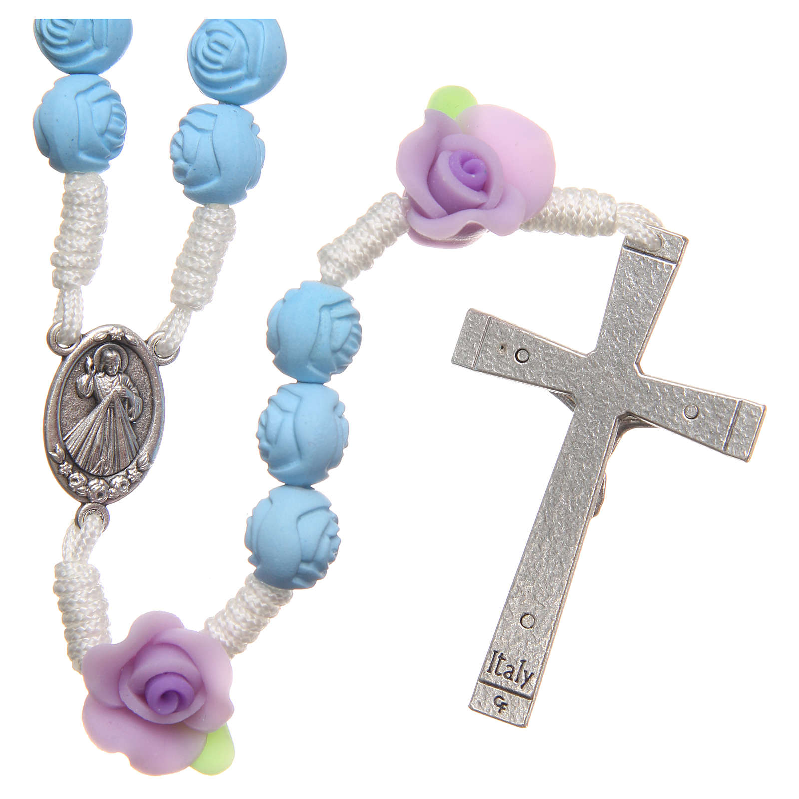 Medjugorje rosary beads with light blue roses 4