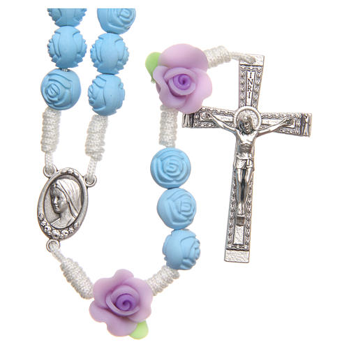 Medjugorje rosary beads with light blue roses 1