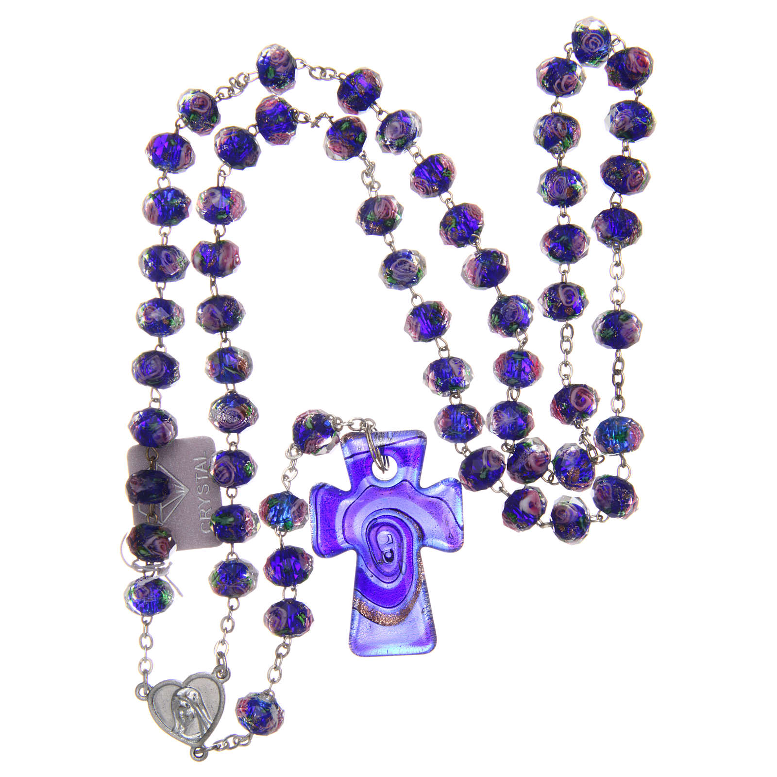 Rosario Medjugorje croce vetro Murano azzurro 4