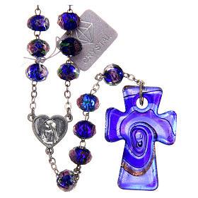 Rosario Medjugorje croce vetro Murano azzurro s1