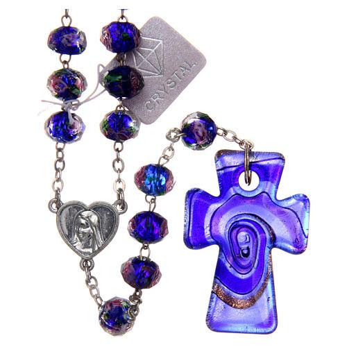 Rosario Medjugorje croce vetro Murano azzurro 1