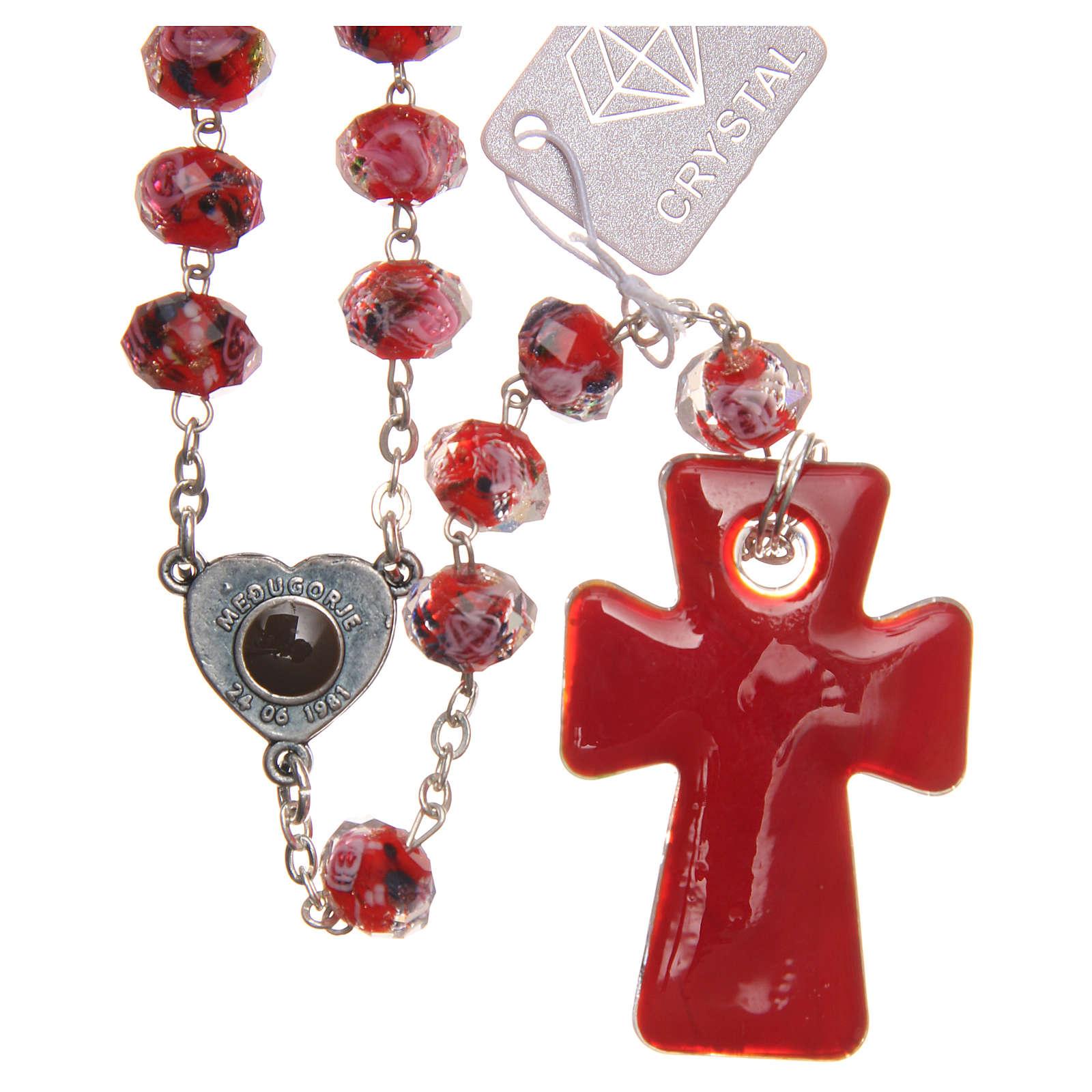 Rosario Medjugorje croce vetro Murano rosso 4