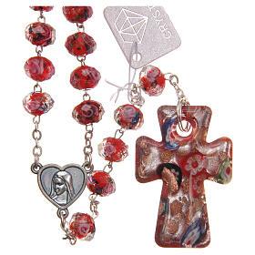 Rosario Medjugorje croce vetro Murano rosso s1