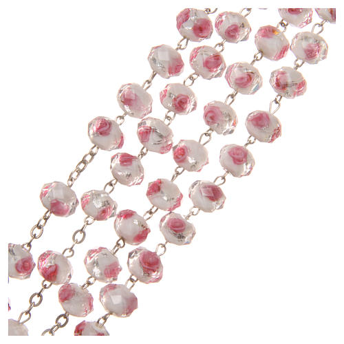 Medjugorje rosary with cross in white and pink Murano glass 3