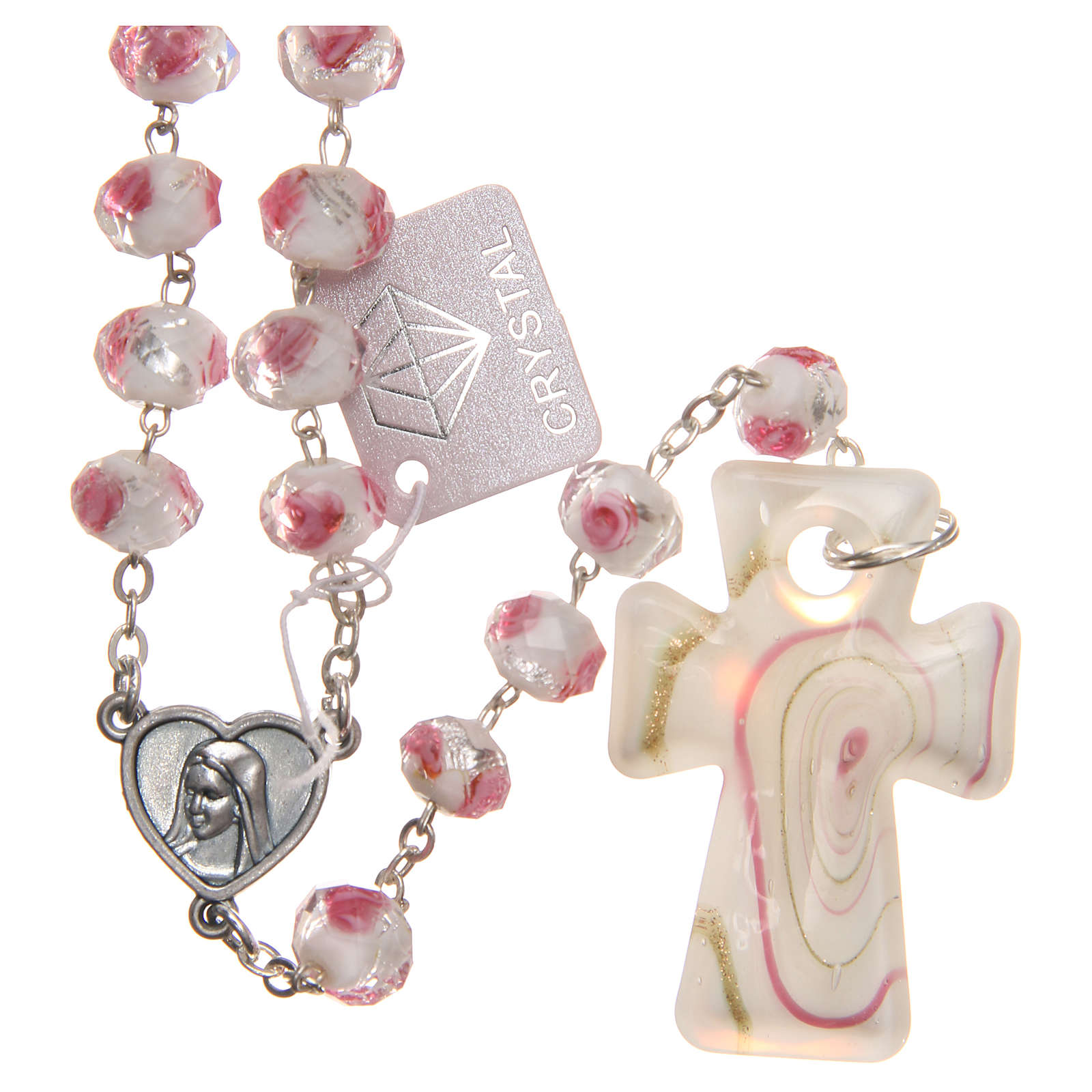 Chapelet Medjugorje croix verre Murano blanc rose 4