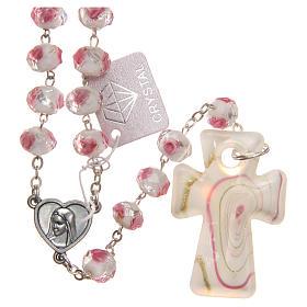Chapelet Medjugorje croix verre Murano blanc rose s1