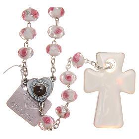 Chapelet Medjugorje croix verre Murano blanc rose s2