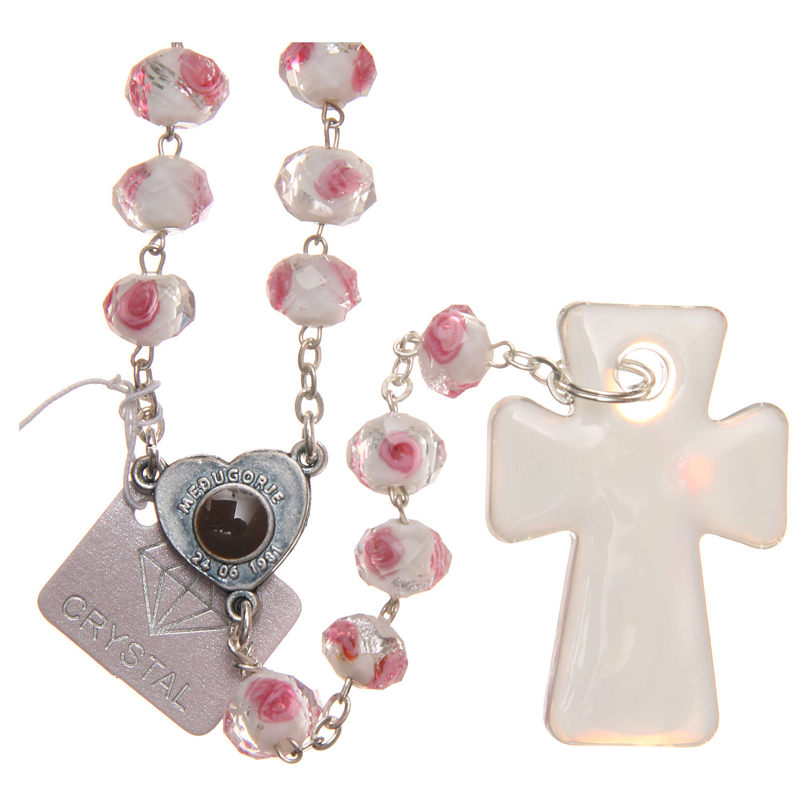 Medjugorje rosary with cross in white and pink Murano glass 4