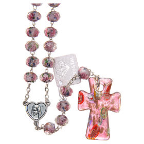 Medjugorje rosary with cross in lilac Murano glass s1