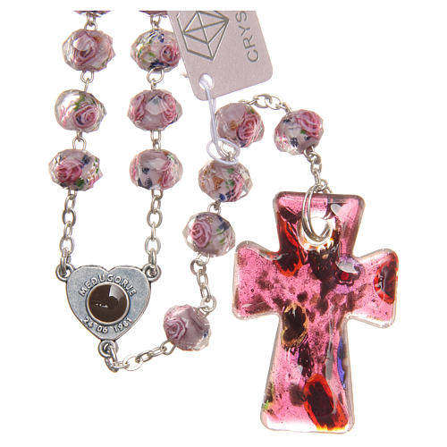 Medjugorje rosary with cross in lilac Murano glass 2